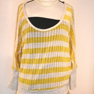 About a Girl Yellow Stripe Sweater L